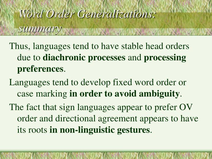 Word Order Generalizations: summary