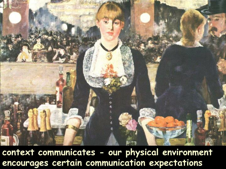 context communicates - our physical environment encourages certain communication expectations