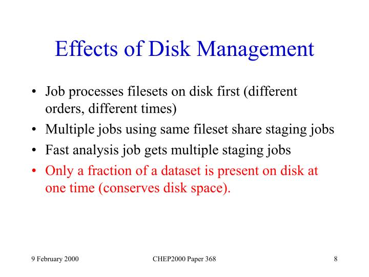 Effects of Disk Management