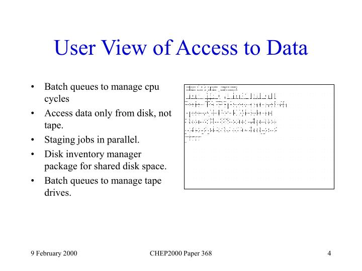 User View of Access to Data
