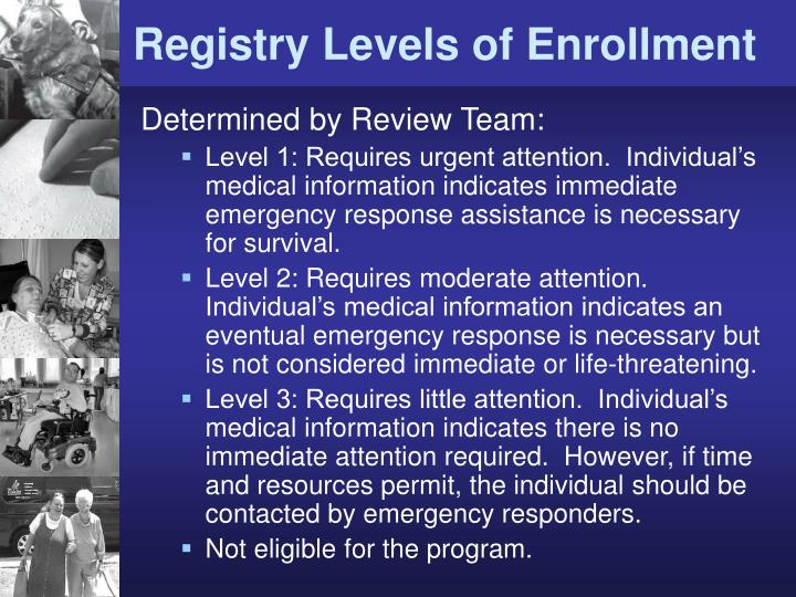 Registry Levels of Enrollment