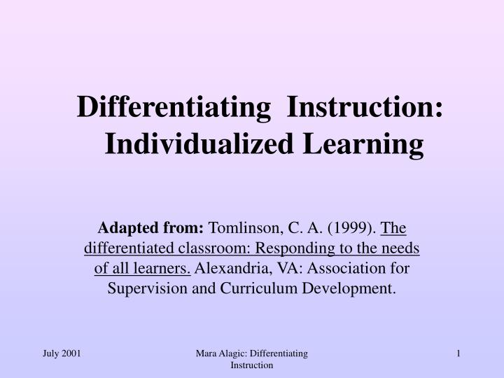 Ppt Differentiating Instruction Individualized Learning