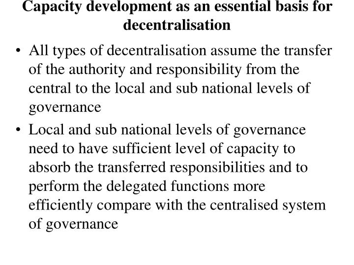 delegation of authority and decentralisation