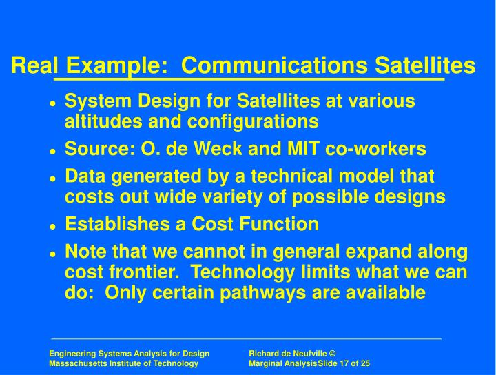 Real Example:  Communications Satellites