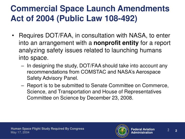 Commercial space launch amendments act of 2004 public law 108 492