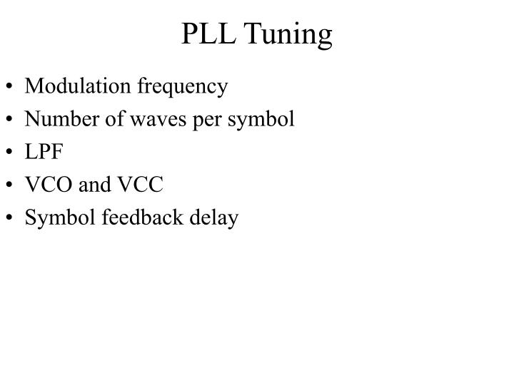PLL Tuning