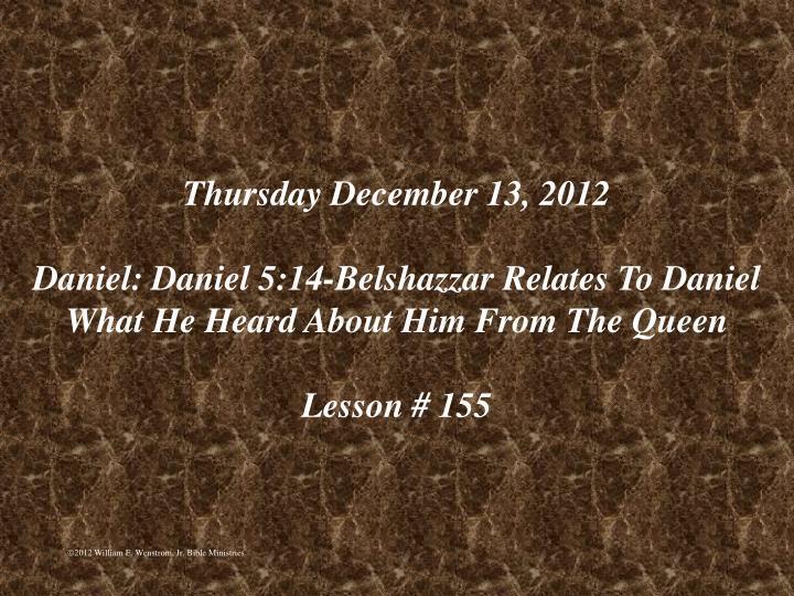 Thursday December 13, 2012
