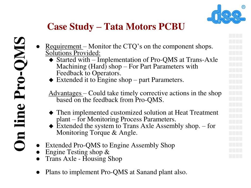 PPT - Implementation of ProQMS - On line SPC system by DSS Systems