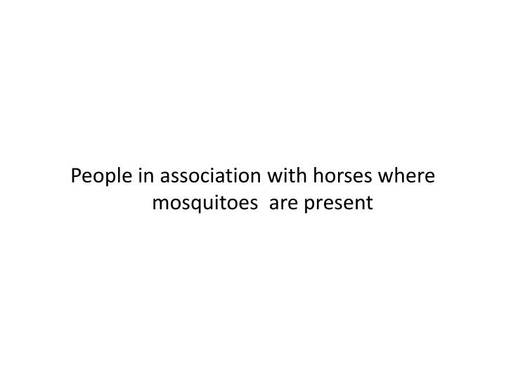 People in association with horses where mosquitoes  are present