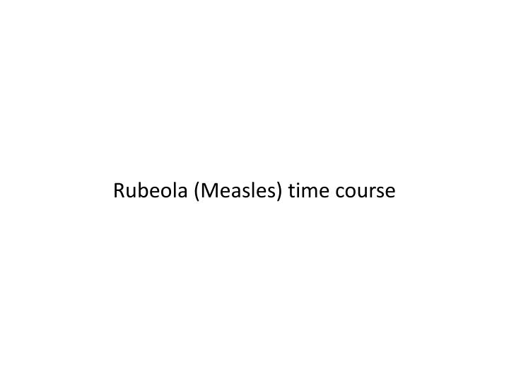 Rubeola (Measles) time course