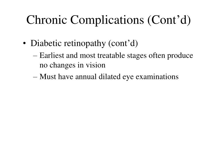 Chronic Complications (Cont'd)