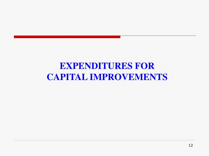 EXPENDITURES FOR CAPITAL IMPROVEMENTS