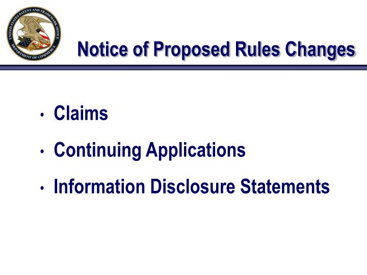 Notice of proposed rules changes