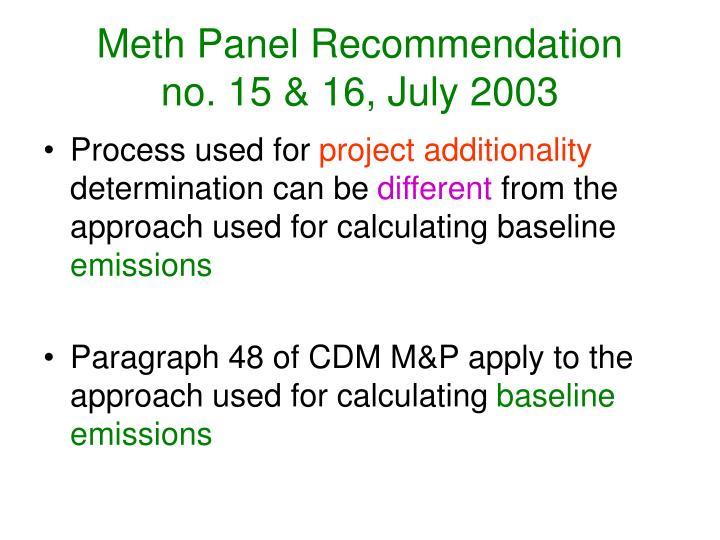 Meth Panel Recommendation
