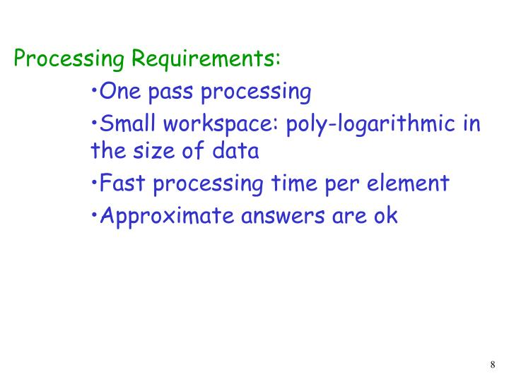 Processing Requirements:
