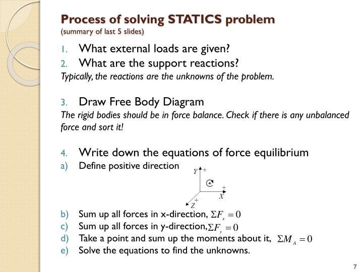 Process of solving STATICS