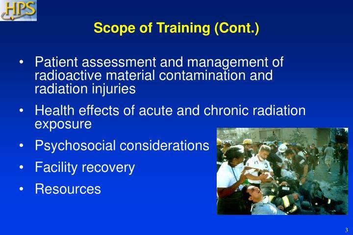 Scope of Training (Cont.)