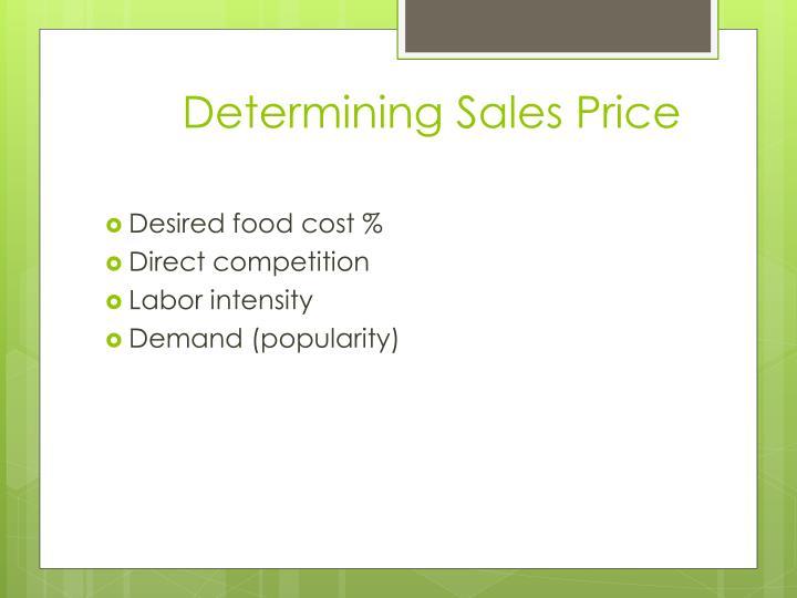 Determining Sales Price