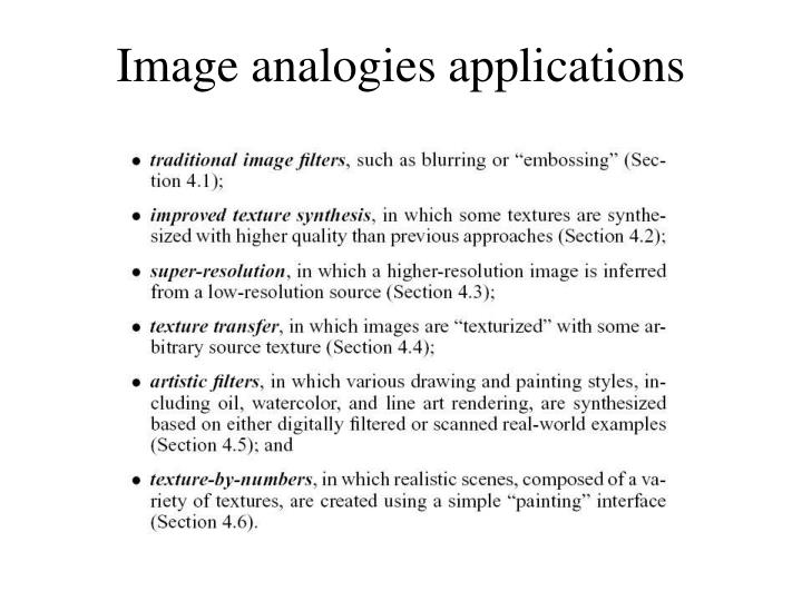 Image analogies applications