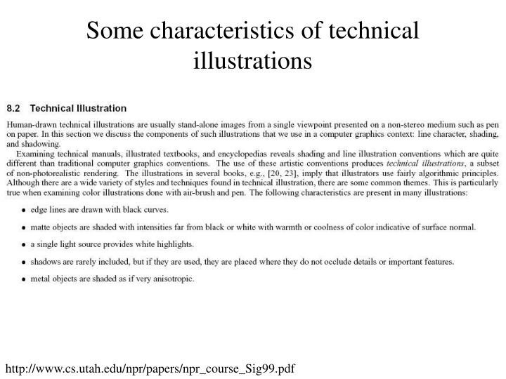 Some characteristics of technical illustrations