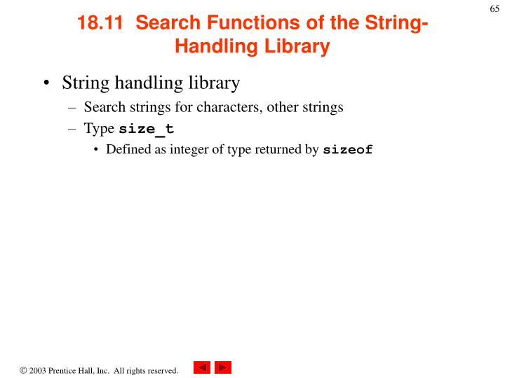 18.11  Search Functions of the String-Handling Library