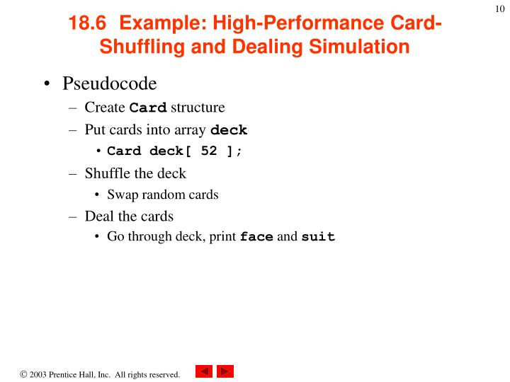 18.6  Example: High-Performance Card-Shuffling and Dealing Simulation