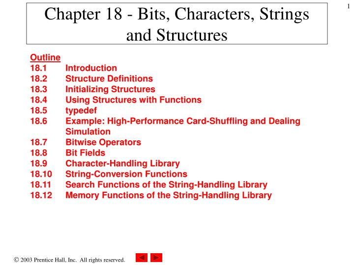 Chapter 18 bits characters strings and structures