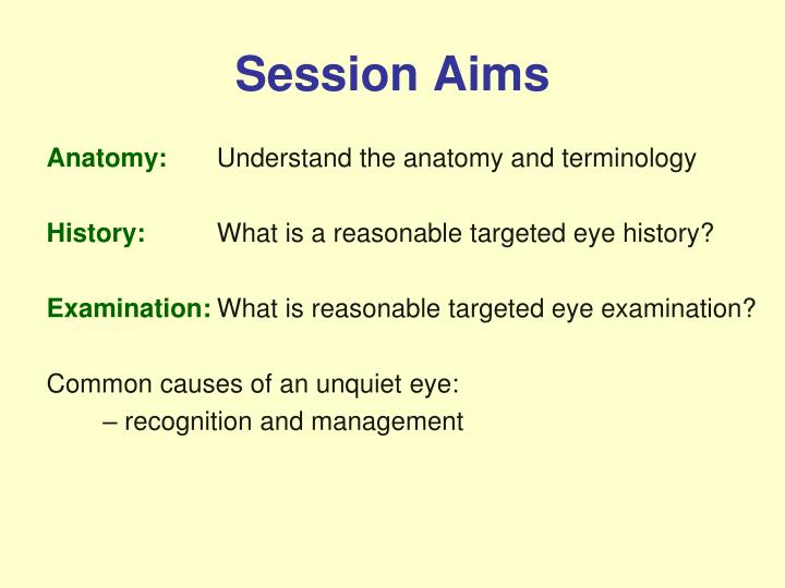 Session aims