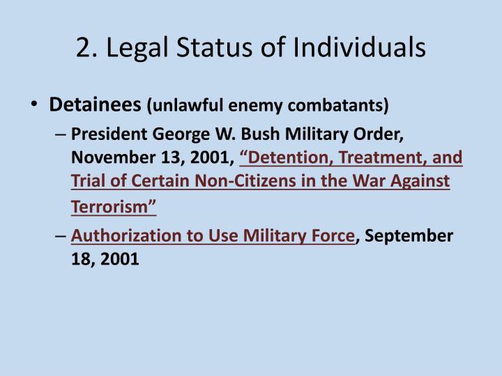 2. Legal Status of Individuals