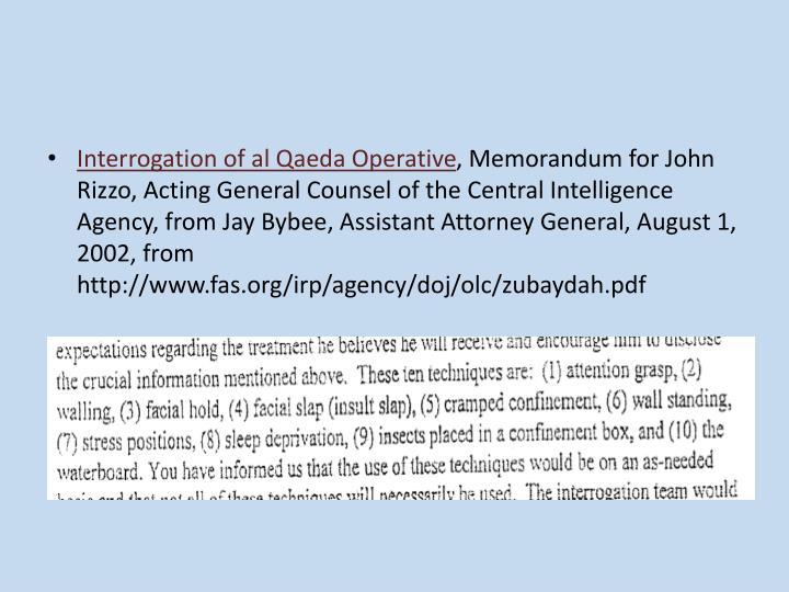 Interrogation of al Qaeda Operative