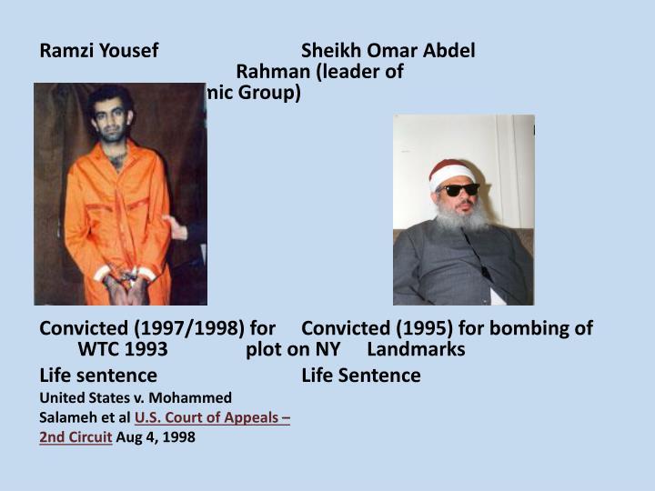 Ramzi YousefSheikh Omar Abdel Rahman (leader of Islamic Group)