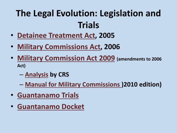 The Legal Evolution: Legislation and Trials