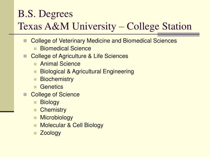 B.S. Degrees