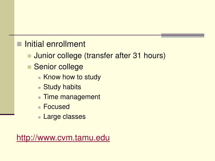Initial enrollment