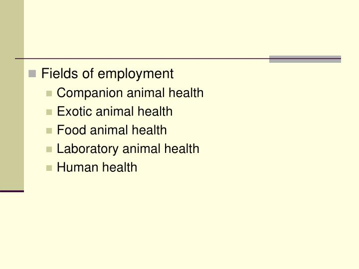 Fields of employment