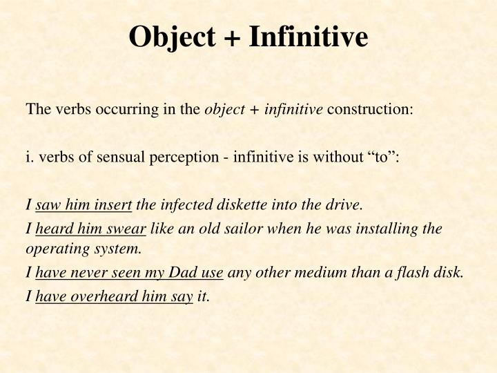 Object infinitive