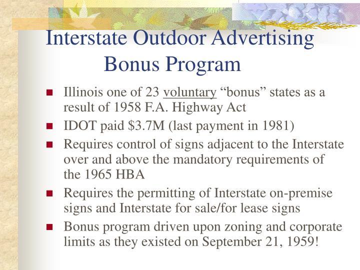 Interstate outdoor advertising bonus program