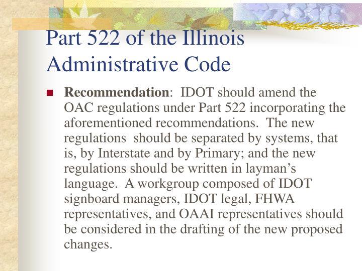 Part 522 of the Illinois Administrative Code