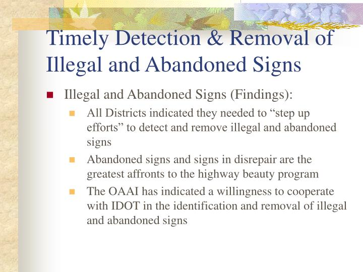 Timely Detection & Removal of Illegal and Abandoned Signs