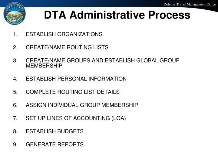 DTA Administrative Process