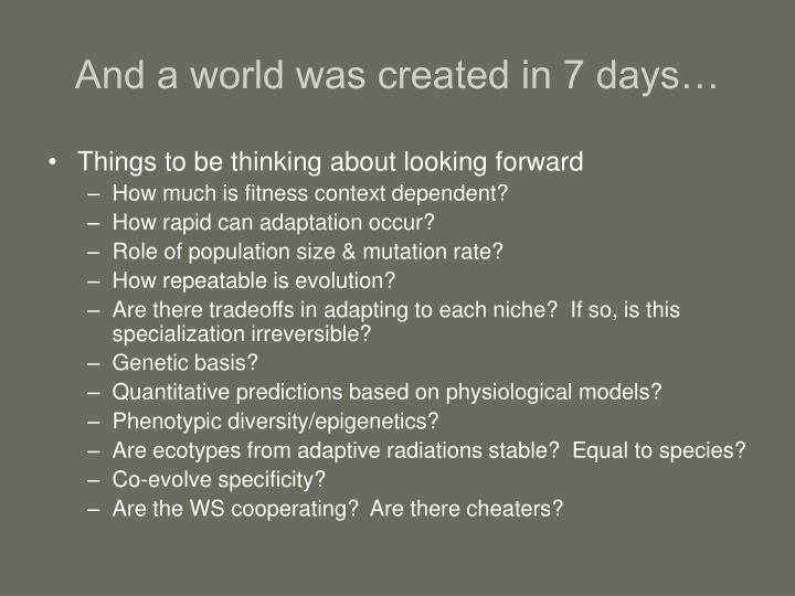 And a world was created in 7 days…