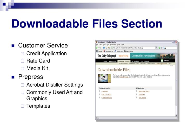 Downloadable Files Section