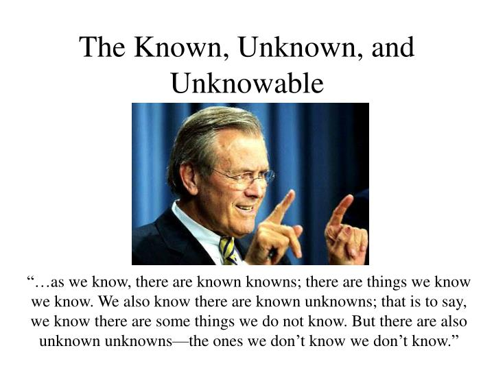 The Known, Unknown, and Unknowable