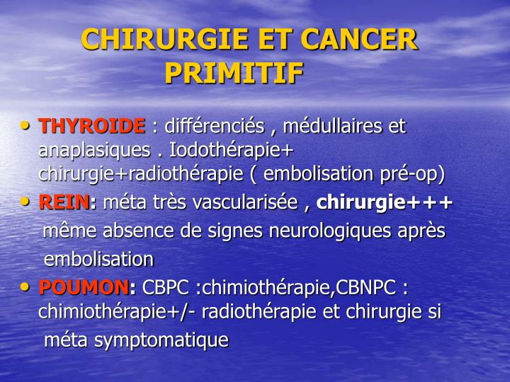 CHIRURGIE ET CANCER