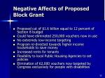 negative affects of proposed block grant