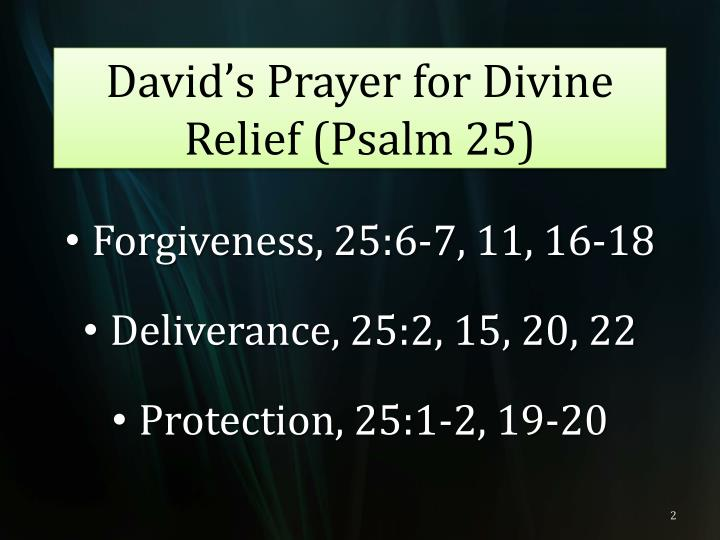 David s prayer for divine relief psalm 25