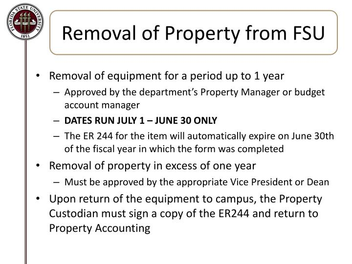 Removal of Property from FSU