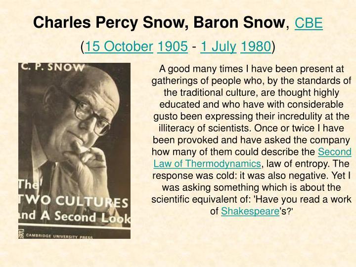 Charles percy snow baron snow cbe 15 october 1905 1 july 1980