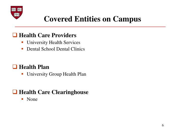 Covered Entities on Campus