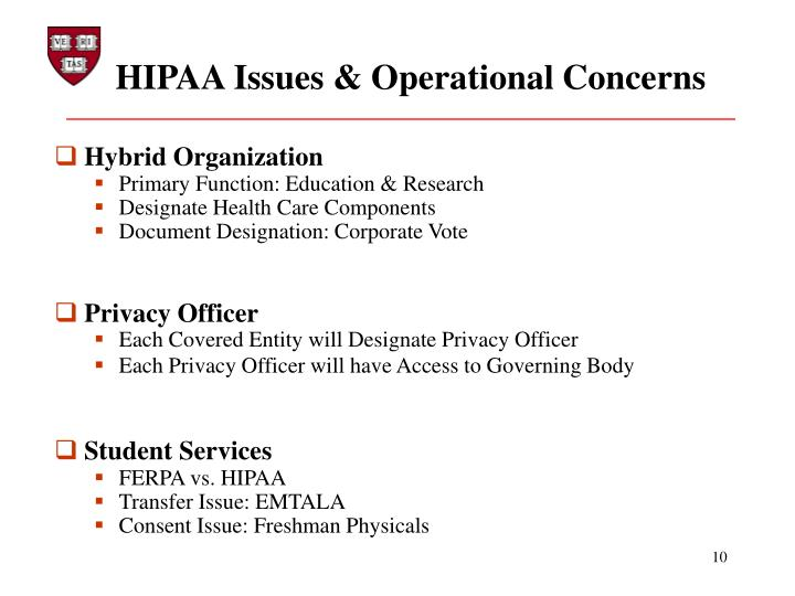 HIPAA Issues & Operational Concerns